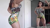 Karyn Bayres is a super-stacked Argentinean powerhouse of muscular womanhood.This busty and athletic MILF flexes her sculpted body in front of a mirror and gets excited.