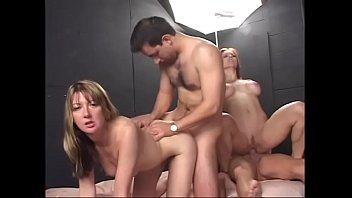 Hot ass blonde and redhead in bed riding two dicks by their assholes and getting jizzed