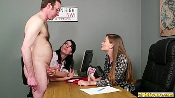 Horny office handjob babes jerk off dick