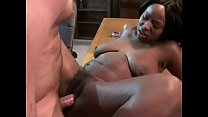 Curvy ebony whore seduces dude to drill her ass in his office