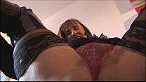 Busty hairy mature in tight mini skirt  plays with cucumber