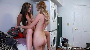 Naughty America Lesbians Brett Rossi and Destiny Dixon fucking in the laundry room