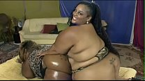 Two lesbian BBW whores Farrah Foxx and Super Star XXX love eating each other's pussy in bed