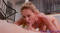 Busty milf gets oral and sucks