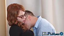 Nerdy redhead drilled in all her holes and sprayed with cum