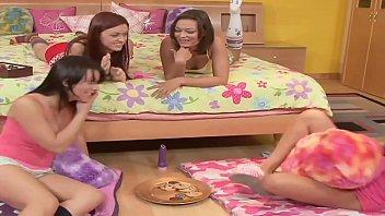Girls Pyjama Night sleepover starts innocently but turns out Lesbian Orgy 37 min