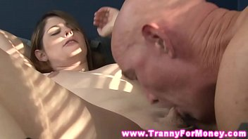 Hot blonde tranny gets her tiny cock drooled on by horny dude