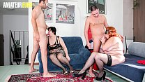 AMATEUR EURO - Amateur BBW Women Bangs Hard With Two Horny Guys (Cindy La Vogliosa & Moana)