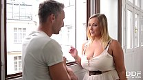 Smoking hot babe with big tits Krystal Swift loves his big hard boner