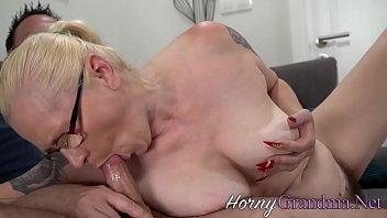 Buxom blonde pensioner creampied