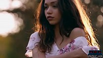 Petite body Filipina teen model strips naked outdoor