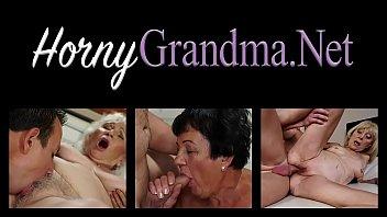 Blonde old lady blows big dick