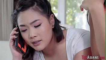 Petite asian slut fucked in threeway 8 min