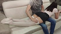 Father fucked his submissive schoolgirl in skirt and stockings