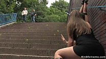 Shaved busty slave fucked in public