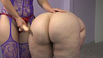 Lesbian with a strap-on undresses and fucked a fat girlfriend with big booty.
