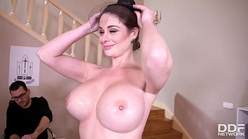 Big tits fucked hard as widow Cathy Heaven wanks his veiny cock real hard