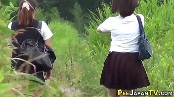 Watched asian teens in uniform pee