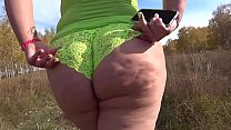 What outfit is my fat ass sexier? A beautiful bbw walks outdoors and shakes a juicy butt. Fetish and exhibitionism.