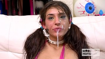 Skinny brunette babe Dana Wolf gets her throat and clit destroyed