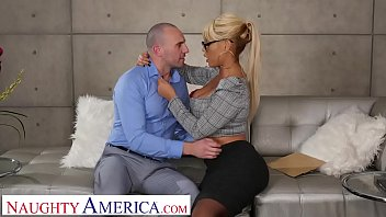 Naughty America Bridgette B. fucks married man on couch