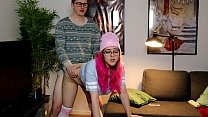College babe in beanie fucked hard from behind - Amadani
