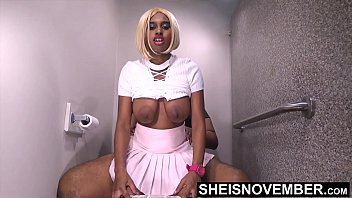 HD My Anxious Ebony Step Sister Couldn't Wait For Her Boyfriend & She Fucked Me With Her Tight Ebony Pussy Mounting My BBC, Beautiful Sexy Blonde Ebony Msnovember Lift Her Skirt & Shirt To Ride Step Brother With Big Booty Bounce Sheisnovember