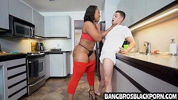 Teen wants his black step mom so bad that he fucks her so hard- ebony porn interracial