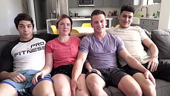 TEEN ORGY - big cock splits holes and 1st time rimming!