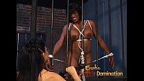 Jailed ebony girl punished by mistress Natasha after being caught masturbating
