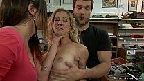 Big tits Milf gangbanged in public