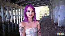 YNGR - Hot Inked Purple Hair Punk Teen Gets Banged