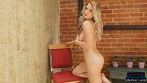 Big natural tits blonde model Ora Young striptease