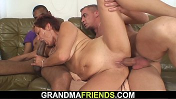Old mature woman interracial threesome