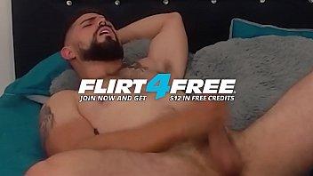 Vergoso M - Flirt4Free - Bearded Latino with Big Uncut Cock Blows His Load