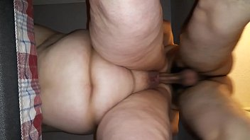 Fucking the BBW again standing up and another creampie