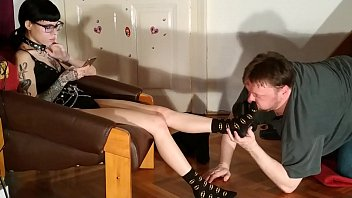 FAT SLAVE SNIFFING HIS MISTRESS BOOTS & FEET PT2 HD 9 min