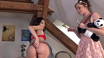 Upskirt No Panties and Mini Thong Day with Hot and Sexy Tight Pussy Lola and Young Denisa