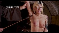 Blonde model punished with nipple whipping