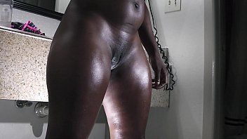 a big butt ebony gets ready for the fuck table