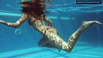Kittina Ivory hot naked swimming in the pool