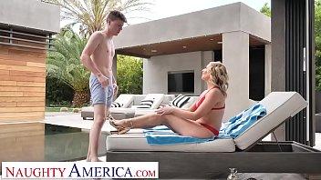 Naughty America Elle McRae fucks son's friend poolside