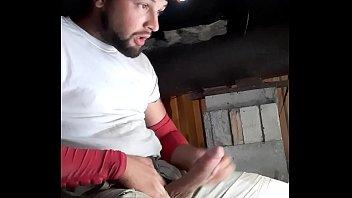 Huge cumshot long fat dick at work