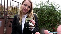 Public Agent Cute Blonde Russian babe fucked through tights at roadside