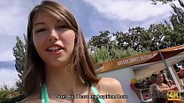 HUNT4K. Cutie gives blowjob and gets analyzed in the public park