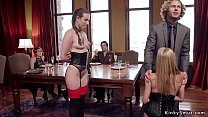 Slaves are rough banged in bdsm party