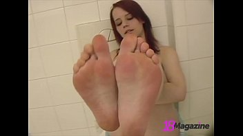 Beautiful Barefoot Redhead Piper Fawn Gets Naked In Bathroom