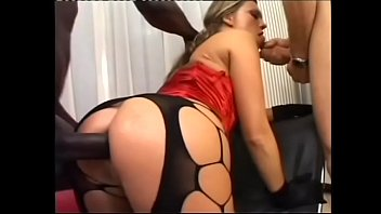 Hot blonde whore in stockings Lucy Love gapes her asshole to take BBC inside and white cock in her twat