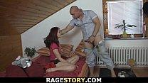 Punished wife takes shaved pussy hardcore fucking