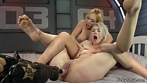Embraced lesbians on anal machines